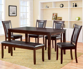 harlow 6 piece padded dining set with bench big lots. Black Bedroom Furniture Sets. Home Design Ideas