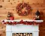 Harvest Glitter Leaf and Berry Wreath Above Mantel in Room Environment Lifestyle Image