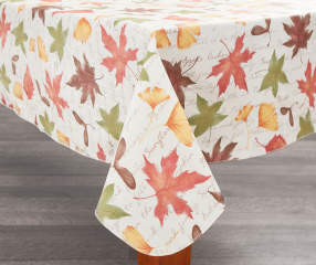 Harvest Leaves Vinyl With Script Tablecloths Kitchen Linen Collection