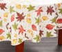 Harvest Leaves with Script Round Vinyl Tablecloth 60 Inches on Round Table Room View