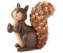 Harvest Wood Carved Squirrel Front View Holding Acorn Silo Image