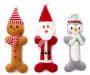 Holiday Plush 3 Piece Dog Toy Gift Set Gingerbread Man Santa Clause Penguin Silo Image