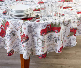 Holiday Red Truck Fabric Round Tablecloth 60 Quot Big Lots