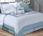 Hotel Cloud Blue and White 8-Piece Queen Comforter Set Lifestyle Image