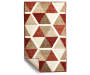 Illusions Red and Brown Accent Rug 1 Feet 8 Inches by 2 Feet 10 Inches Corner Folded Overhead View Silo Image