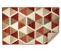 Illusions Red and Brown Accent Rug 2 Feet 6 Inches by 3 Feet 10 Inches Corner Folded Overhead View Silo Image