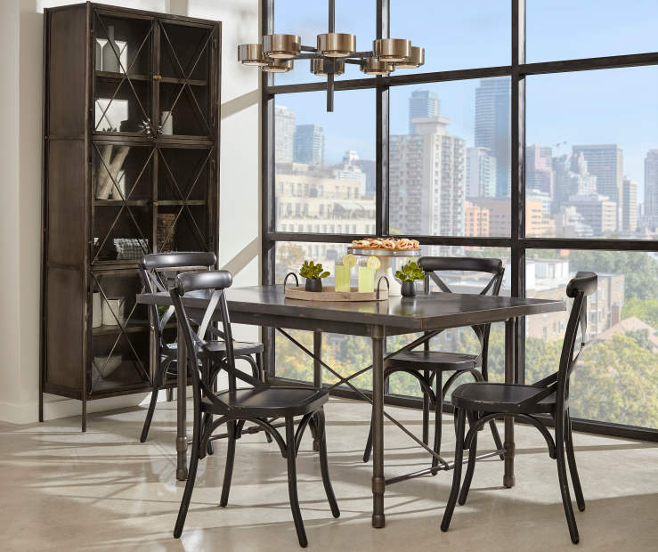 Industrial Dining Set With Black Chairs