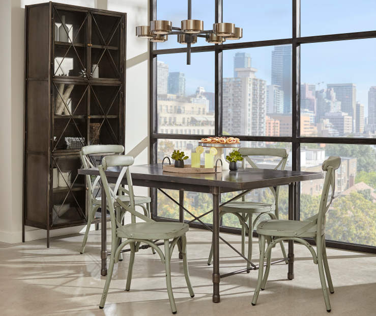 Big Lots Dining Set: Industrial Dining Set With Blue Chairs