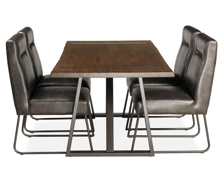 Dining Table Big Lots: Industrial Live Edge Dining Table & Chair Set