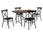 Industrial Wood and Metal 5 Piece Dining Set silo front