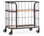 Industrial Wood and Metal Trolley Bar Cart silo angled