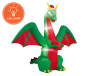 Inflatable Christmas Dragon 8 Feet Angled View Silo Image