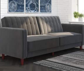 Ameriwood Irene Gray Velvet Tufted Futon Sofa Lots