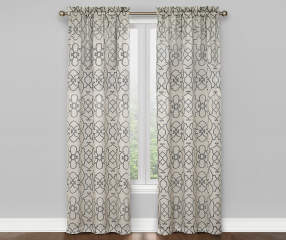 Living Colors Ironwork Gray White Blackout Curtain Panel Pair 84 Big Lots