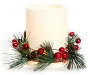 Ivory Flameless LED Pillar Candle with Pinecone and Berry Ring Silo