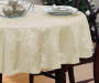 "Ivory Snowflakes Jacquard Fabric Round Tablecloth, (60"")"