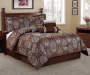 Jacquard Brown 7-Piece Queen Comforter Set Room Scene