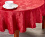 Jacquard Red Round Tablecloth 60 Inches On Table with Props Lifestyle Image