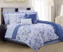 Jaida Leaf Blue and White 12 Piece Queen Comforter Set bedroom setting