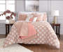 Jaiden Coral and Taupe Comforter and Quilt 10-Piece Set Room Setting 3