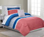 Jamie Coral and Blue Twin 6 Piece Reversible Comforter Set lifestyle bedroom
