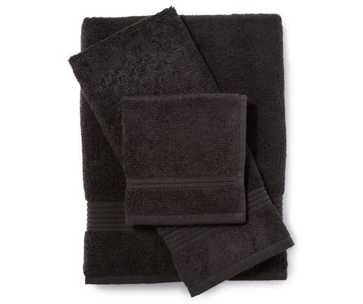 Towel Stock Lots: Just Home Black Bath Towels