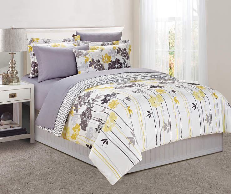 Just home gray yellow dandelion comforter sets big lots - Gray and yellow bedding sets ...