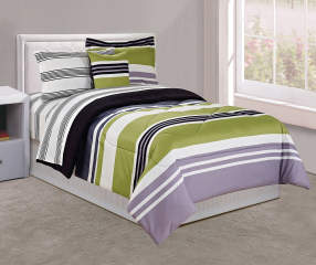 Just Home Green Amp Black Stripe Twin 6 Piece Comforter Set