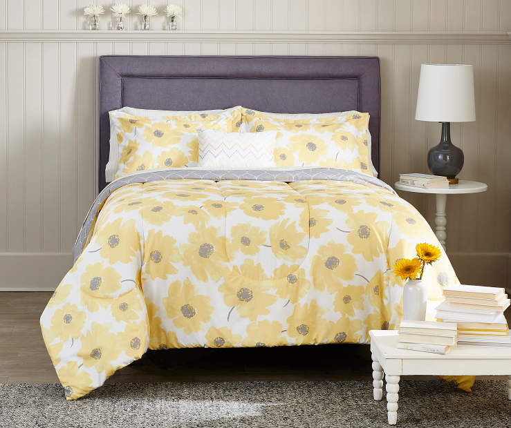 just home pansy yellow gray reversible comforter sets. Black Bedroom Furniture Sets. Home Design Ideas