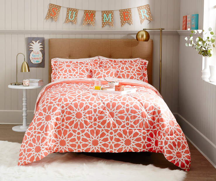 Just Home Spiral Coral Reversible Comforter Sets Big Lots