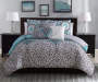 Katrina Aqua and Gray Queen 6-Piece Comforter Set Room Image