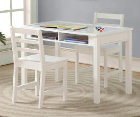 Just Home Kid S Table Amp Chairs 3 Piece Set With Whiteboard