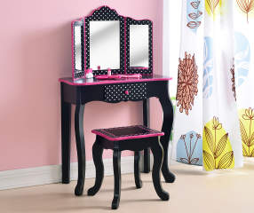 Just Home Kid S Vanity Set With Mirror Amp Stool Big Lots