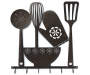 Kitchen Utensils Laser Cut Metal Wall Decor with Hooks Overhead Shot Silo Image