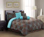 Klyne Chocolate & Turquoise 7-Piece Queen Comforter Set Bedroom Image