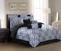 Klyne Jacquard Black & Silver 7-Piece Queen Comforter Set Room View