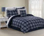Kyle Plaid 8-Piece King Comforter Set White and Navy in Tan Room