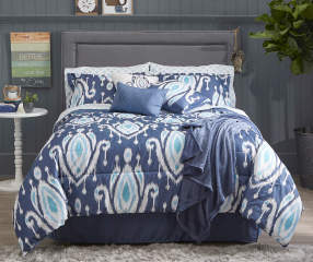 Living Colors Navy Ikat Teardrop Queen 12 Piece Comforter
