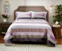 LC 3PC VELVET/SATIN QUILT KING PURPLE