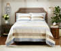 LC 3PC VELVET/SATIN QUILT QUEEN IVORY/LT GREY/TAUPE