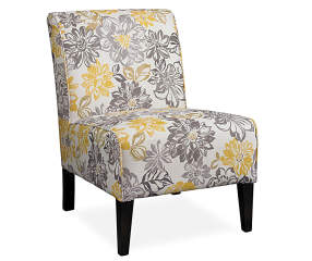 Lacey Gray Amp Yellow Floral Armless Accent Chair Big Lots