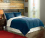 Lake Blue Sherpa Queen 3 Piece Comforter Set Styled on Bed Room View