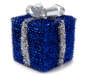 Large Blue Tinsel Gift Box Decor Angled View Silo Image