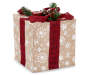 Large Burlap Gift Box with Bells Decor Angled Silo Image