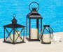 Large Hurricane Glass LED Lantern lifestyle