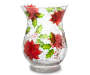 Large Poinsettia Crackle Hurricane Glass Candle Holder Front View Silo Image