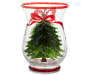 Large Tree Crackle Hurricane Glass Candle Holder Front View Silo Image