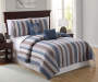 Legacy Stripe Blue and Brown 5 Piece Full Queen Quilt Set On Bed Room Environment Lifestyle Image