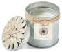Lemongrass Tin Candle with Flower silo front lid off