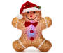 Light Up Acrylic Gingerbread Man Silo Lit Red and Blue